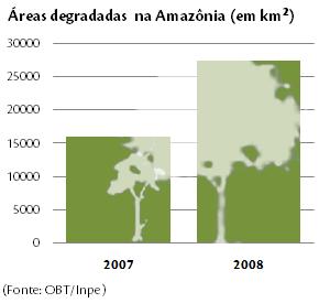 Dissonância forma x conteúdo: gráfico de desmatamento